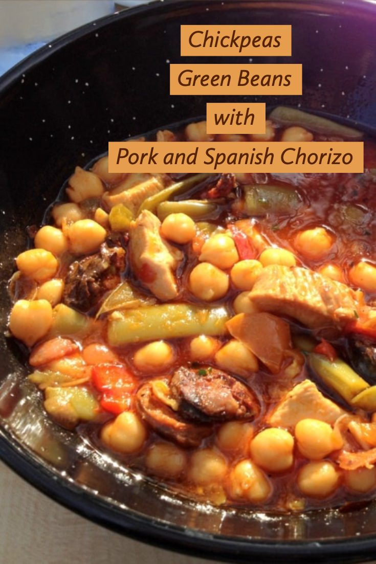 Chickpeas Green Beans With Pork And Spanish Chorizo - a heart-warming dish from Spain. Chickpeas are popular in most parts of Spain and chorizo is a staple. Use Spanish paprika and Spanish chorizo for a more authentic flavor. #spanishdinner #chickpeas #Spanishchickpeas
