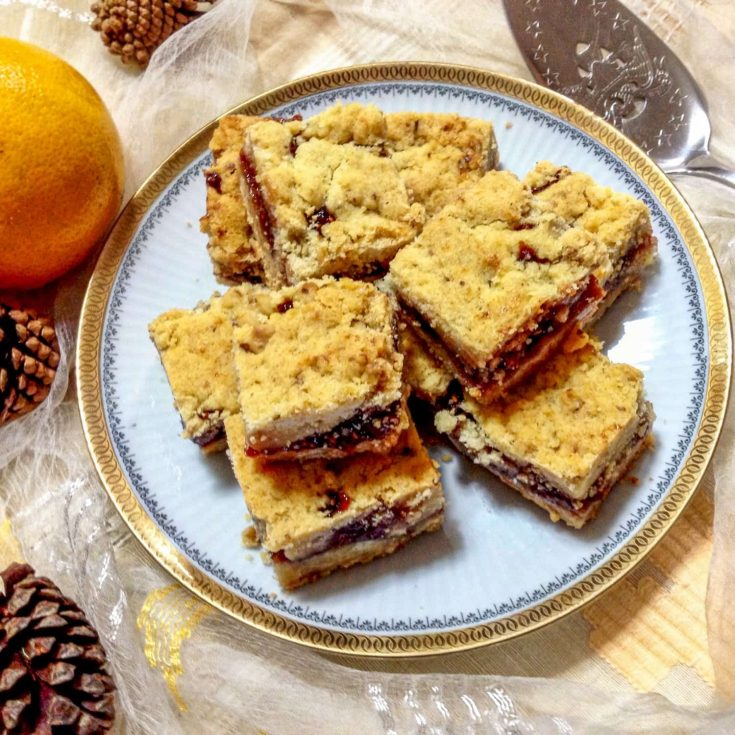 Czech Bars with Jam and Walnuts