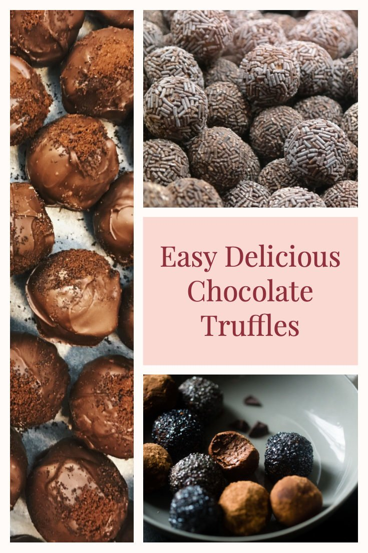 Easy Chocolate Truffles to make at home. Perfect for the holidays, Valentines Day or any day when you crave a decadent dessert. #chocolatetruffles #easytruffles #easychocolatetruffles #chocolatedessert