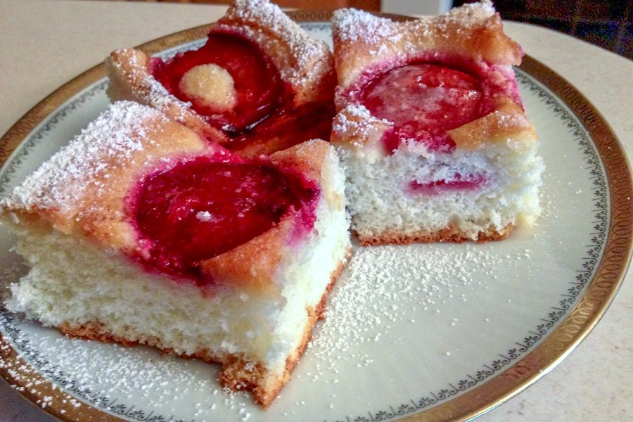 Plums Coffee Cake - slices on a white plate