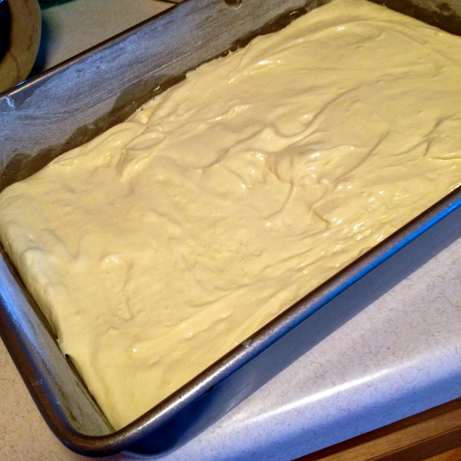 Plums Coffee Cake - picture of the batter in the baking tray