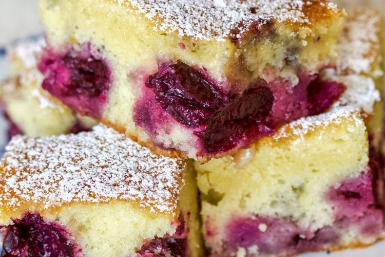 Pound Cake with Fruits and Almond Flakes