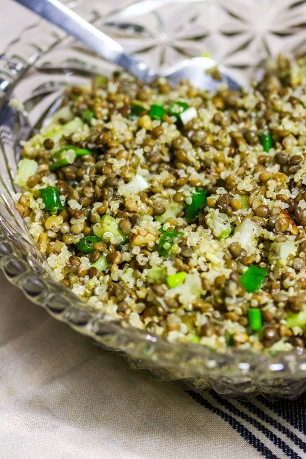 Quinoa Lentils Walnuts Salad - in a glass bowl