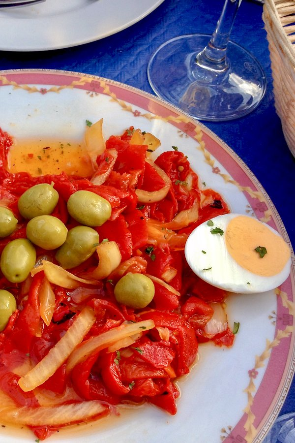 Traditional Roasted Red Pepper Spanish Salad with boiled egg