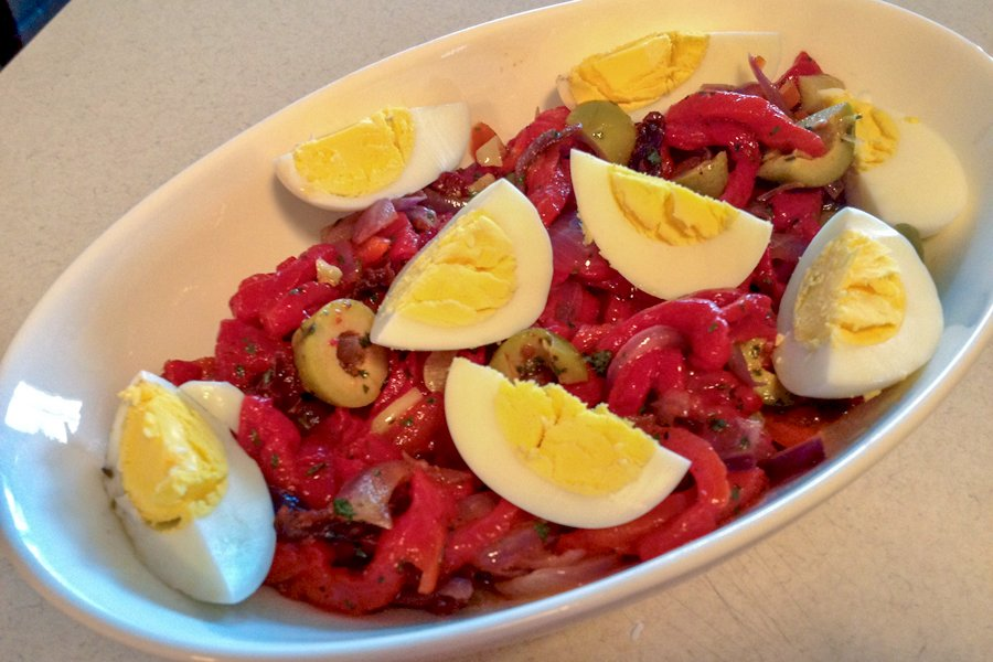 Traditional Roasted Red Pepper Spanish Salad- a delicious appetizer or salad that can be served with any roasted meats you like.