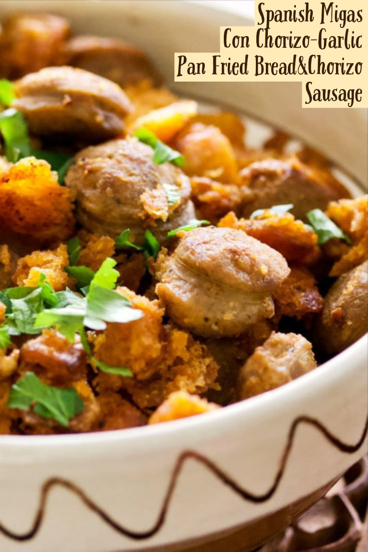Spanish Migas Con Chorizo-Garlic Pan Fried Bread&Chorizo Sausage is a rustic Spanish dish that uses leftover bread pan fried together with sausage. #Spanishmigas #Spanishappetize #spanishtapas #migaswithsausage #easyappetizer