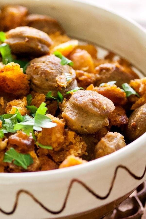 Spanish Migas Con Chorizo-Garlic Pan Fried Bread&Chorizo Sausage in a bowl