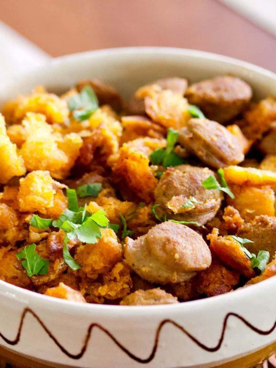 Spanish Migas Con Chorizo Garlic Pan Fried BreadChorizo Sausage1