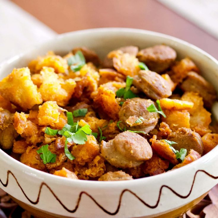 Spanish Migas Con Chorizo-Garlic Pan Fried Bread&Chorizo Sausage