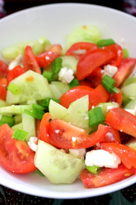 Tomato Cucumbers Feta Salad - in a bowl