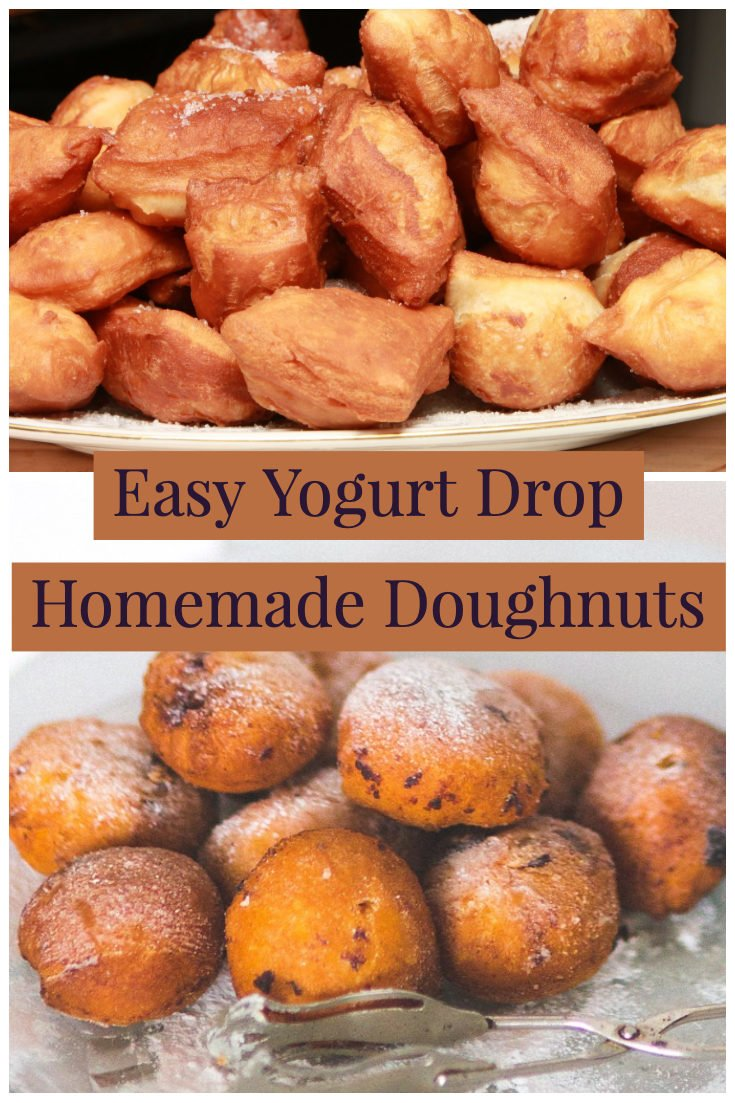 Easy yogurt drop homemade doughnuts are a simple, classic recipe for a quick dessert. Great for breakfast with a cup of coffee. #doughnuts #easydoughnuts #donuts #easydonuts