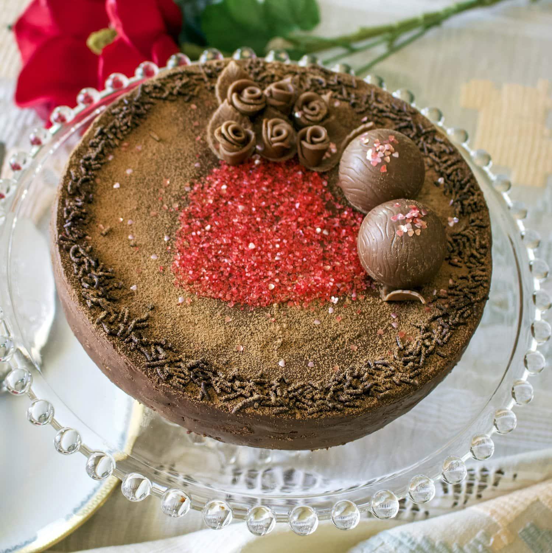 Classic European chocolate ganache meringue torte- featured picture