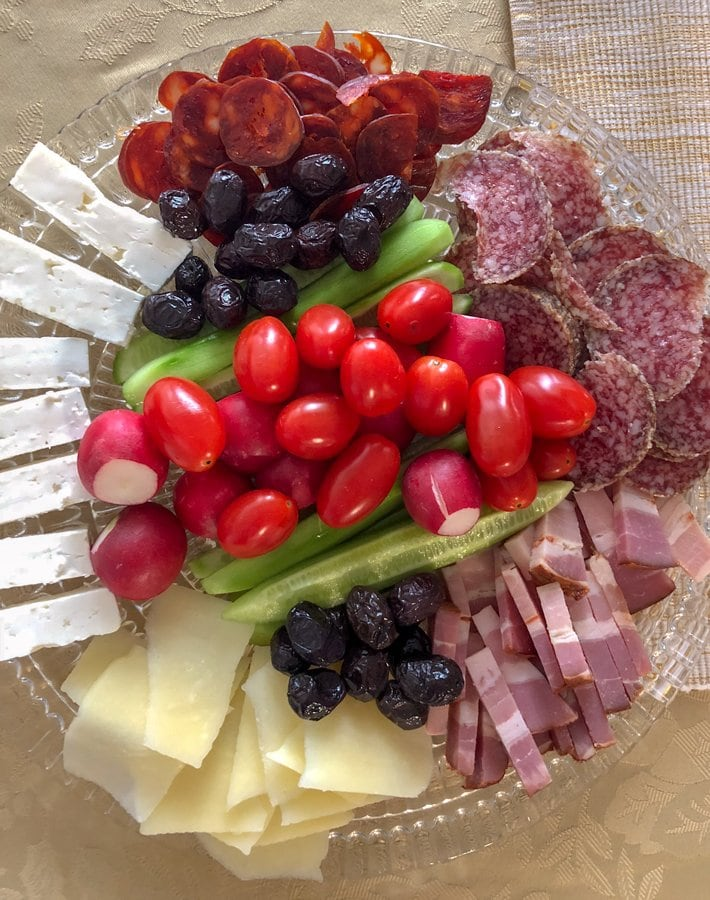 cold cuts appetizers on a plate