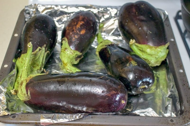 Grilled eggplant and bell pepper salad is a wonderful recipe to make all year long when you have eggplants and peppers available. Perfect as appetizer, or a snack served on slices of good crusty bread, this salad makes a handsome option for entertaining.