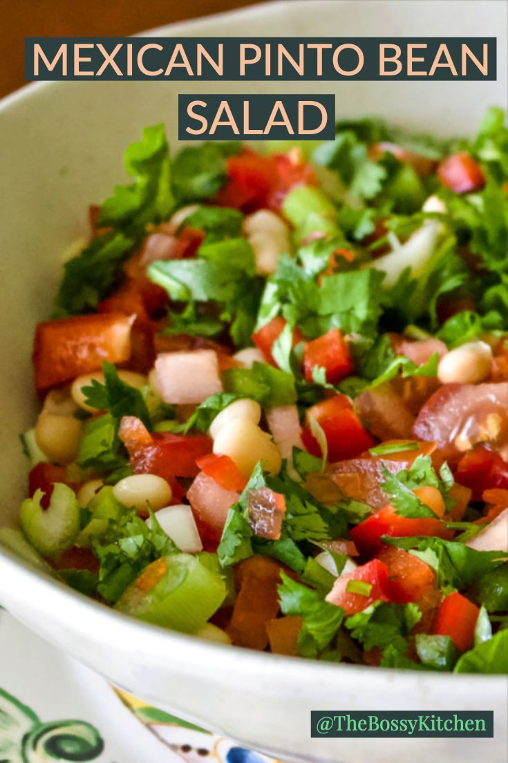 The Mexican Pinto Bean Salad with Jalapeno pepper is a super easy meatless recipe that can be made in no time. It is suitable all year round, and it is a good source of protein and fiber for all of us. #pintobeans #Mexicansalad #easyrecipes