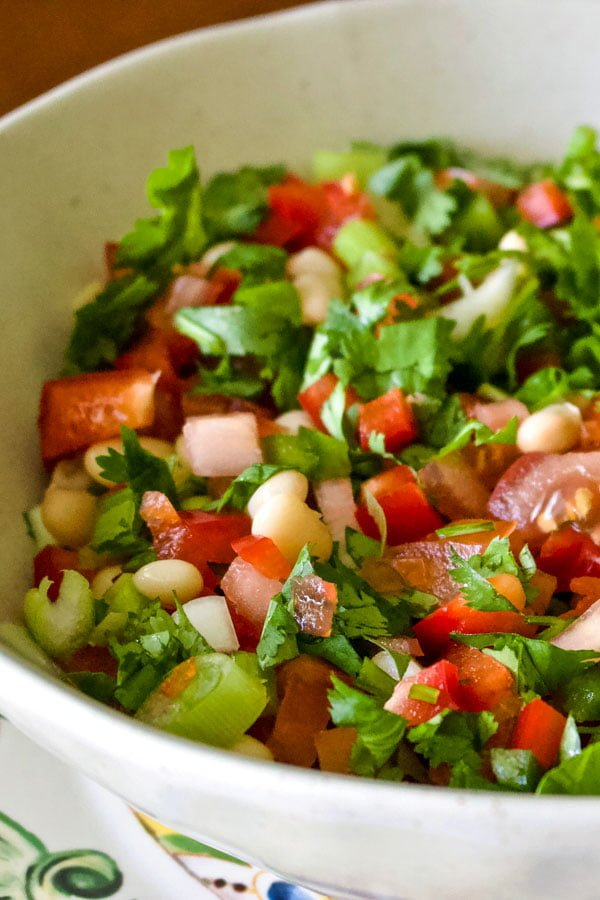 Mexican Pinto Bean Salad with Jalapeno pepper- close up
