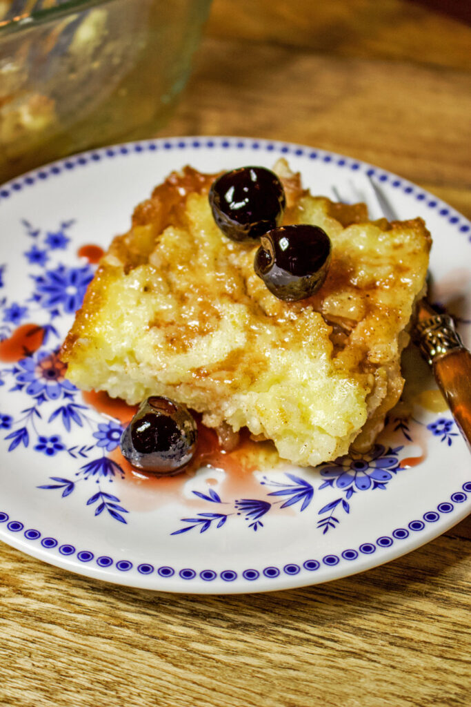 Baked Rice Apple Pudding slice on plate0