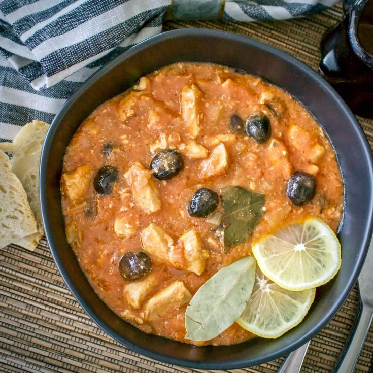 CHICKEN STEW WITH BLACK OLIVES- A ROMANIAN VERSION OF CHICKEN CACCIATORE