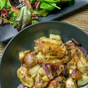 Lemon Rosemary Roasted Chicken With Potatoes And Red Onion