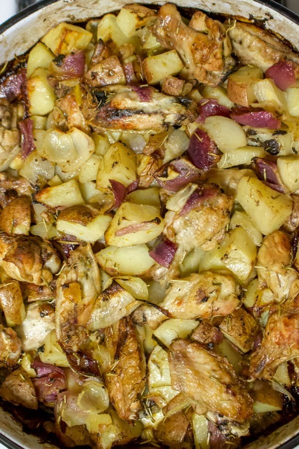 Lemon Rosemary Roasted Chicken With Potatoes And Red Onion is a recipe that can be made in no time with ingredients from your pantry. The cost of this recipe is quite low if you use cheap cuts of chicken. Great for dinner and the leftovers are awesome.