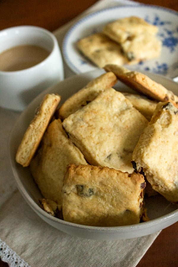 Apricot And Sour Cream Scones - bowl filled with scones