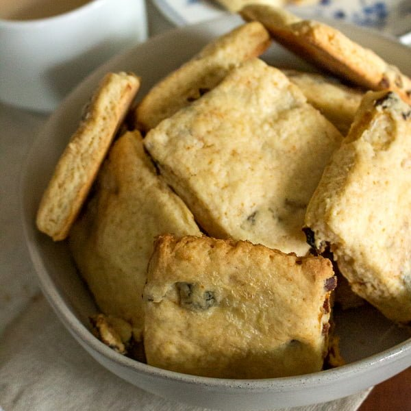 Apricot And Sour Cream Scones in a grey bowl