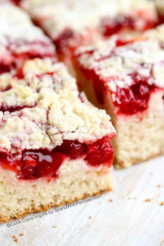 Cherry Cheesecake Coffee Cake is the perfect dessert. A rich buttery coffee cake topped with layers of cheesecake, cherries & streusel.