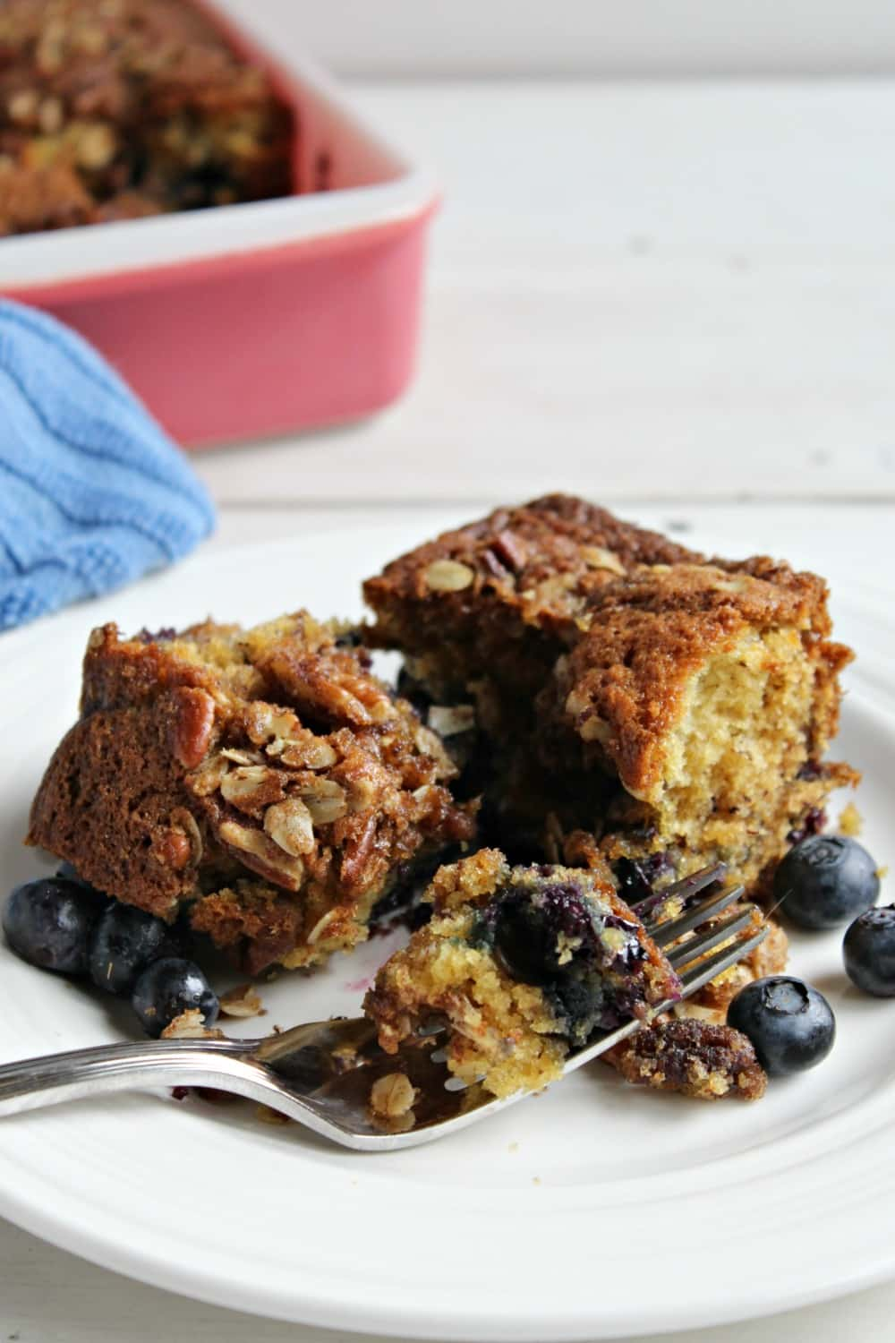 Blueberry coffee cake with a pecan crumble topping - Beyond the Chicken Coop