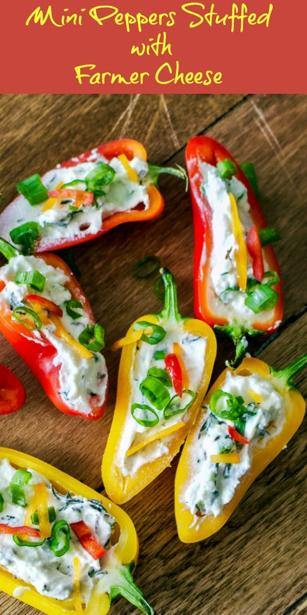 Are you looking for a fun&festive little appetizer to make for your next party? Here is a recipe that can be made ahead. Mini peppers stuffed with farmer cheese is a super easy to put together recipe that is delicious and also beautiful on the table.