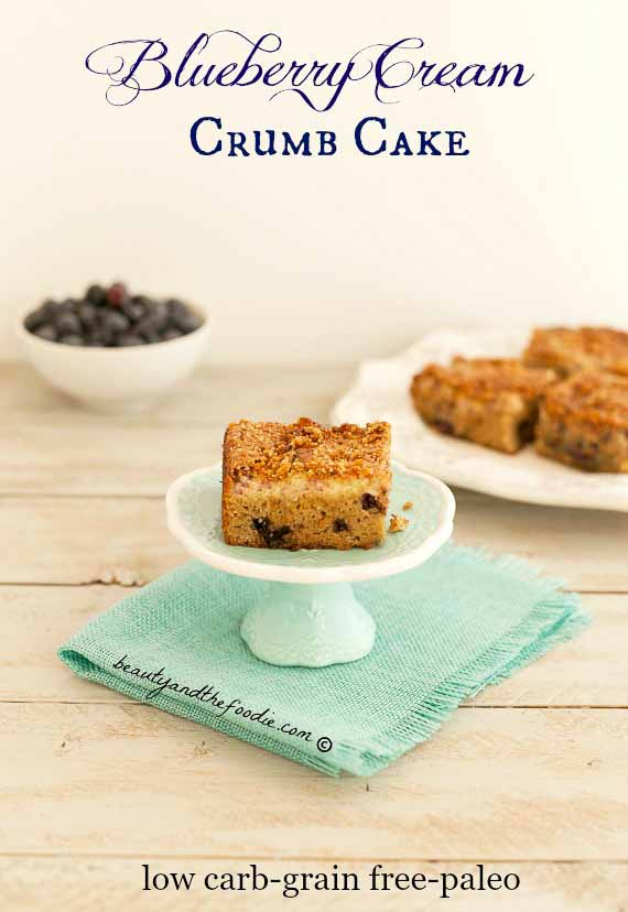 Blueberry Cream Crumb Cake, grain free,low carb, and paleo option