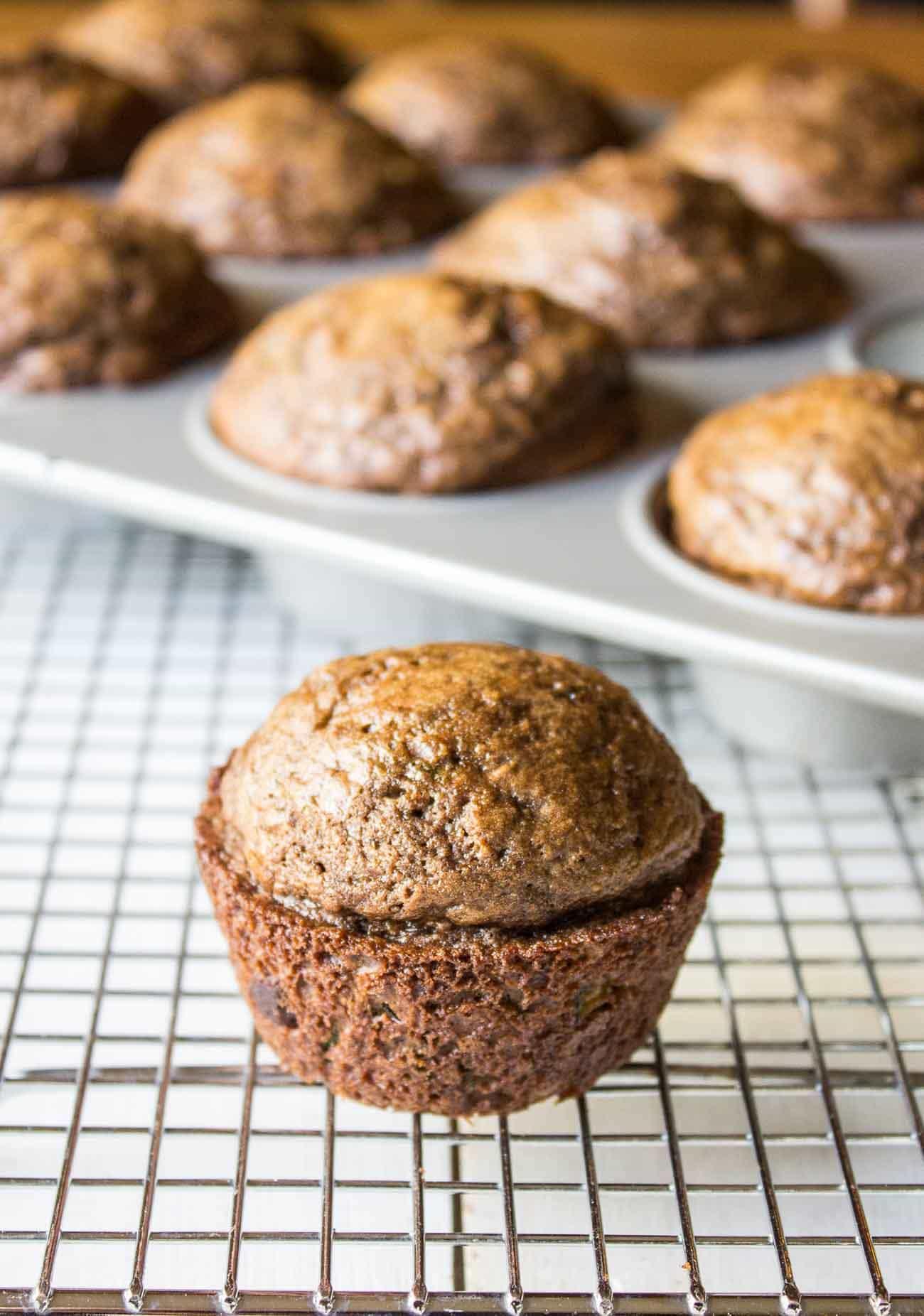 Chocolate Zucchini Muffins beyondthechickencoop.com