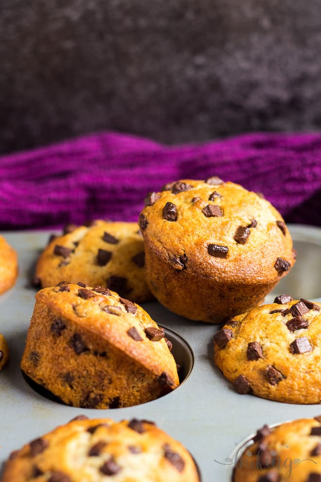 Chocolate Chip Muffins scattered on a muffin pan.