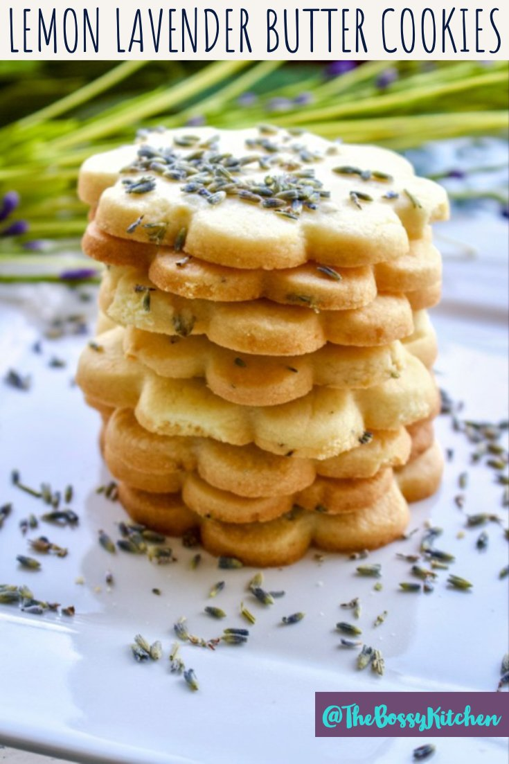 Lemon Lavender Butter Cookies- featured picture for Pinterest- stacked cookies on white plate