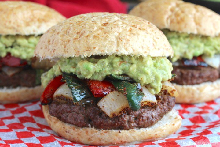Easy Grilled Fajita Burgers with Guacamole Recipe {www.TwoHealthyKitchens.com}