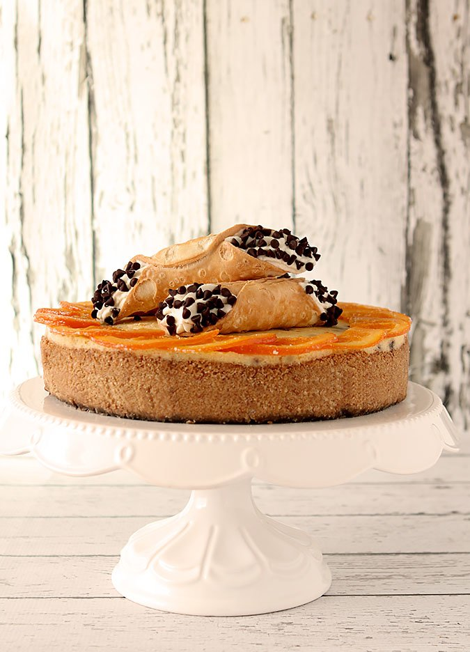 Orange Cannoli Cheesecake with Chocolate Chips