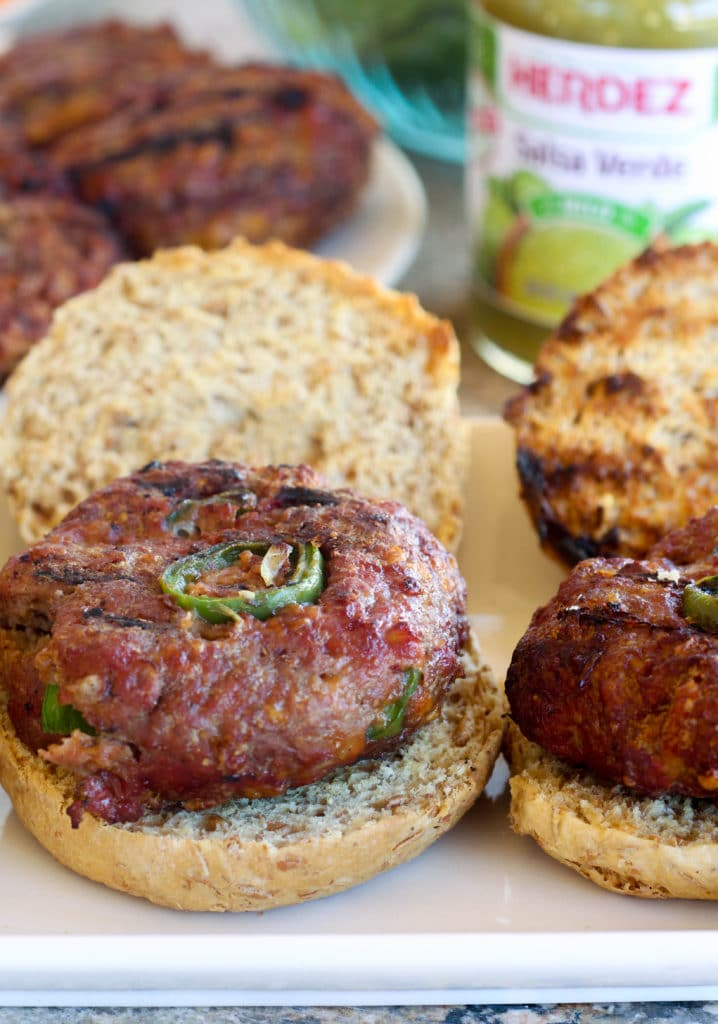 Jalapeno & Cheddar Stuffed Salsa Verde Burgers #Sponsored #AuthenticStyle Salsa