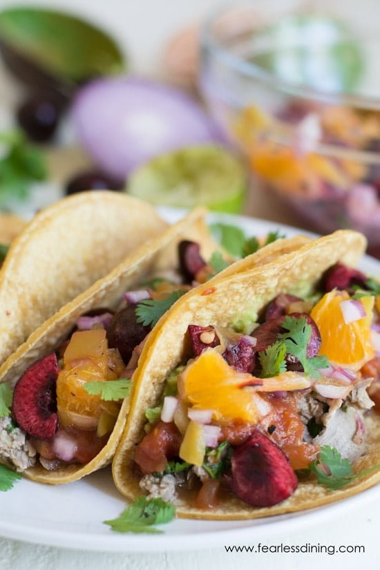 Close up of duck tacos.