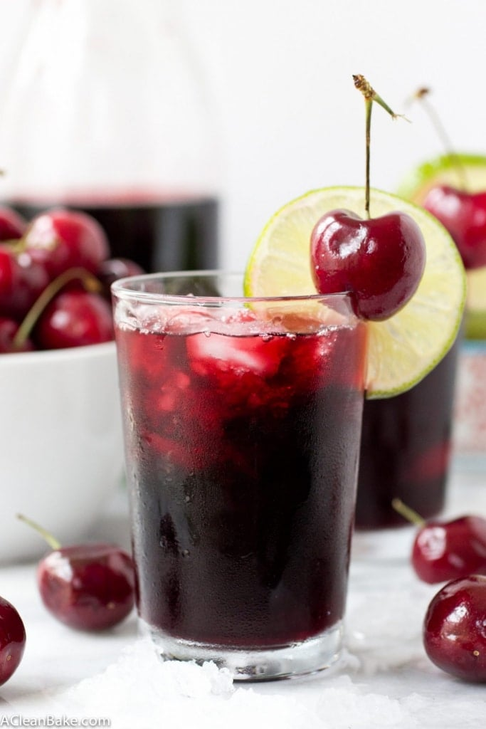 Naturally Sweetened Cherry Lime Vodka Slushie - because delicious cocktails shouldn't be full of sugar and artificial ingredients!