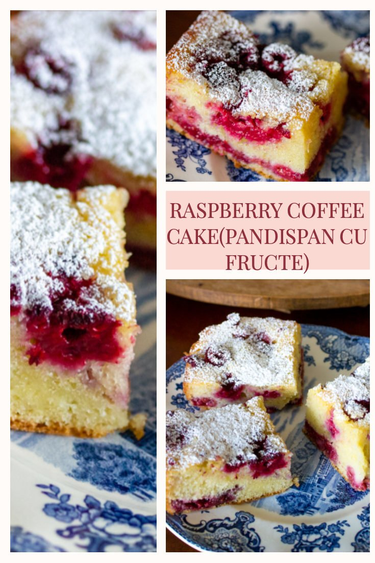 Romanian Raspberry Coffee Cake(Pandispan cu fructe) is a summer recipe that uses fruits that are in season like sour cherries, raspberries, strawberries etc. #coffeecake #easycake #Romaniancake