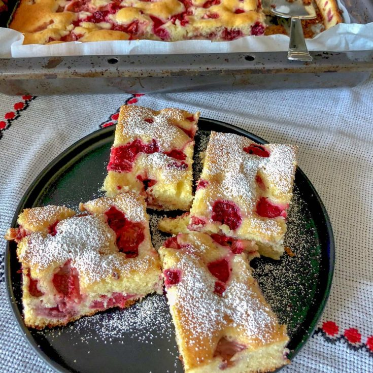 Romanian Raspberry Coffee Cake(Pandispan)