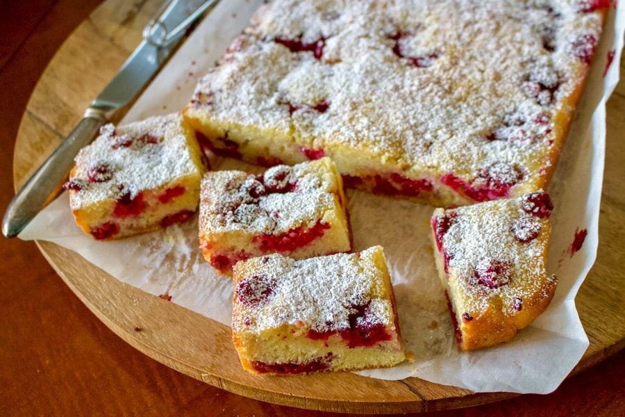 Romanian Fruit Coffee Cake(Pandispan cu fructe) is a summer recipe that uses fruits that are in season like sour cherries, raspberry, strawberry etc.