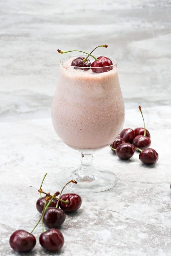 Cherry Chocolate Chip Milkshake with Cherries on Top