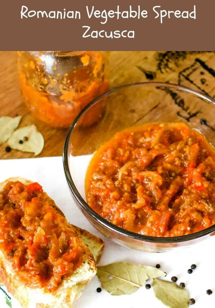 Romanian vegetable spread-Zacusca, is a combination of roasted eggplant, roasted peppers, tomatoes and onions, all slowly cooked together to perfection. #appetizers #vegetablespread #Romaniancuisine