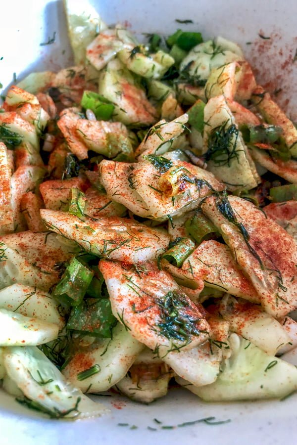 This is the best cucumber salad- Transylvania Style- an unforgotten summer recipe that can be made over and over again. Delicious and simple.