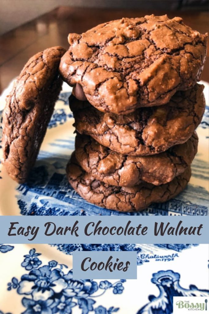 Easy Dark Chocolate Walnut Cookies- featured picture for Pinterest