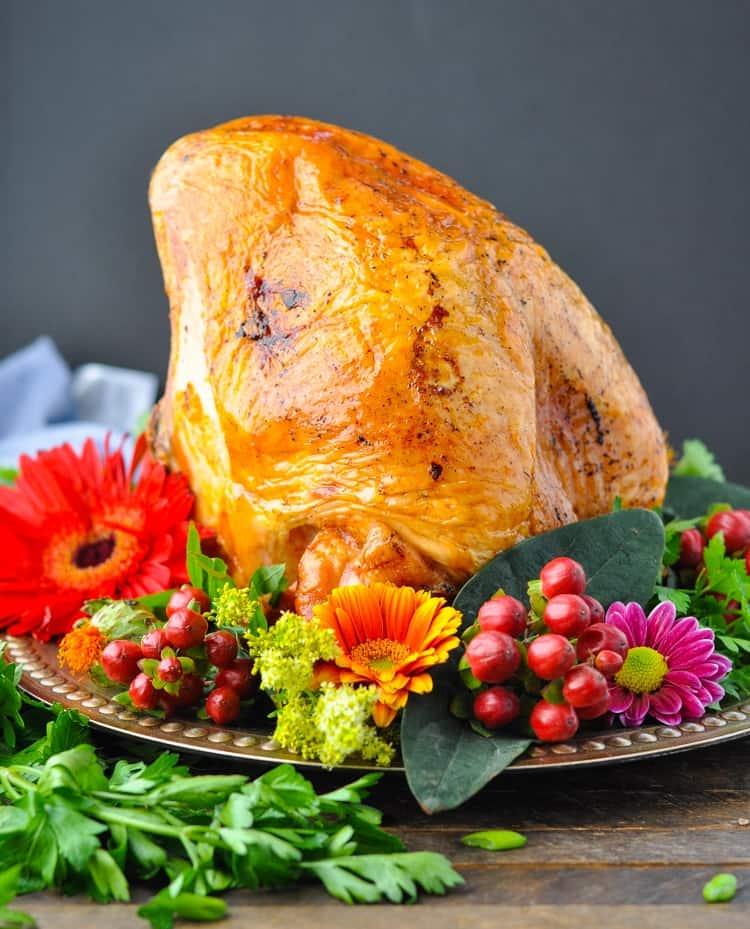 A side shot of a roast turkey breast