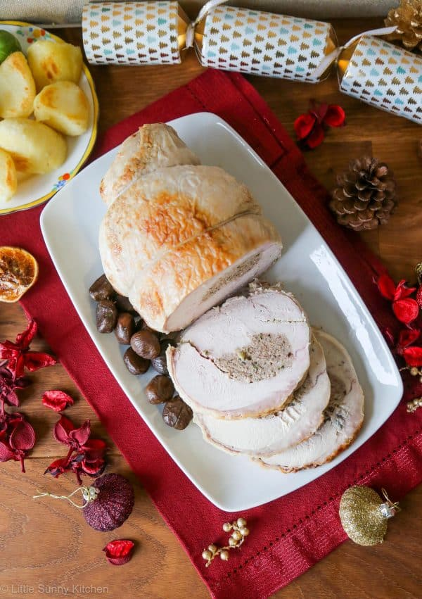 Stuffed Roasted Turkey Breast is a scrumptious and easier alternative than roasting a whole turkey for Christmas dinner!