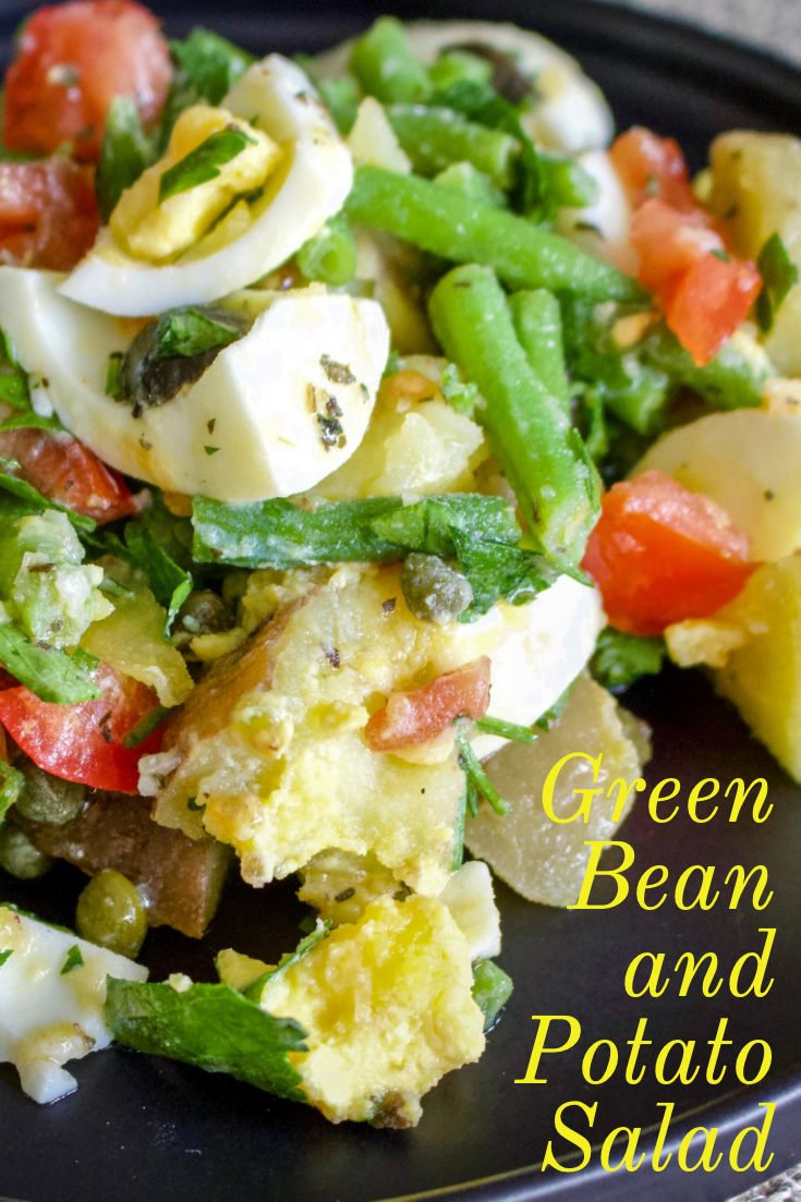 Green bean and potato salad- a delicious salad that can be served as a side dish next to your favorite cut of meat, or by itself for a light lunch or dinner. #salad #greenbean #easyrecipes #wintersalad #dinner #lunch