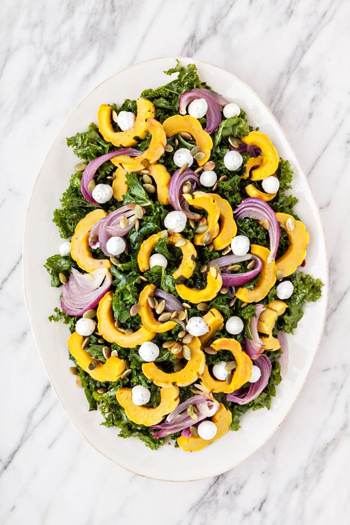 Massaged Kale Salad with Roasted Squash, Goat Cheese, and Pepitas