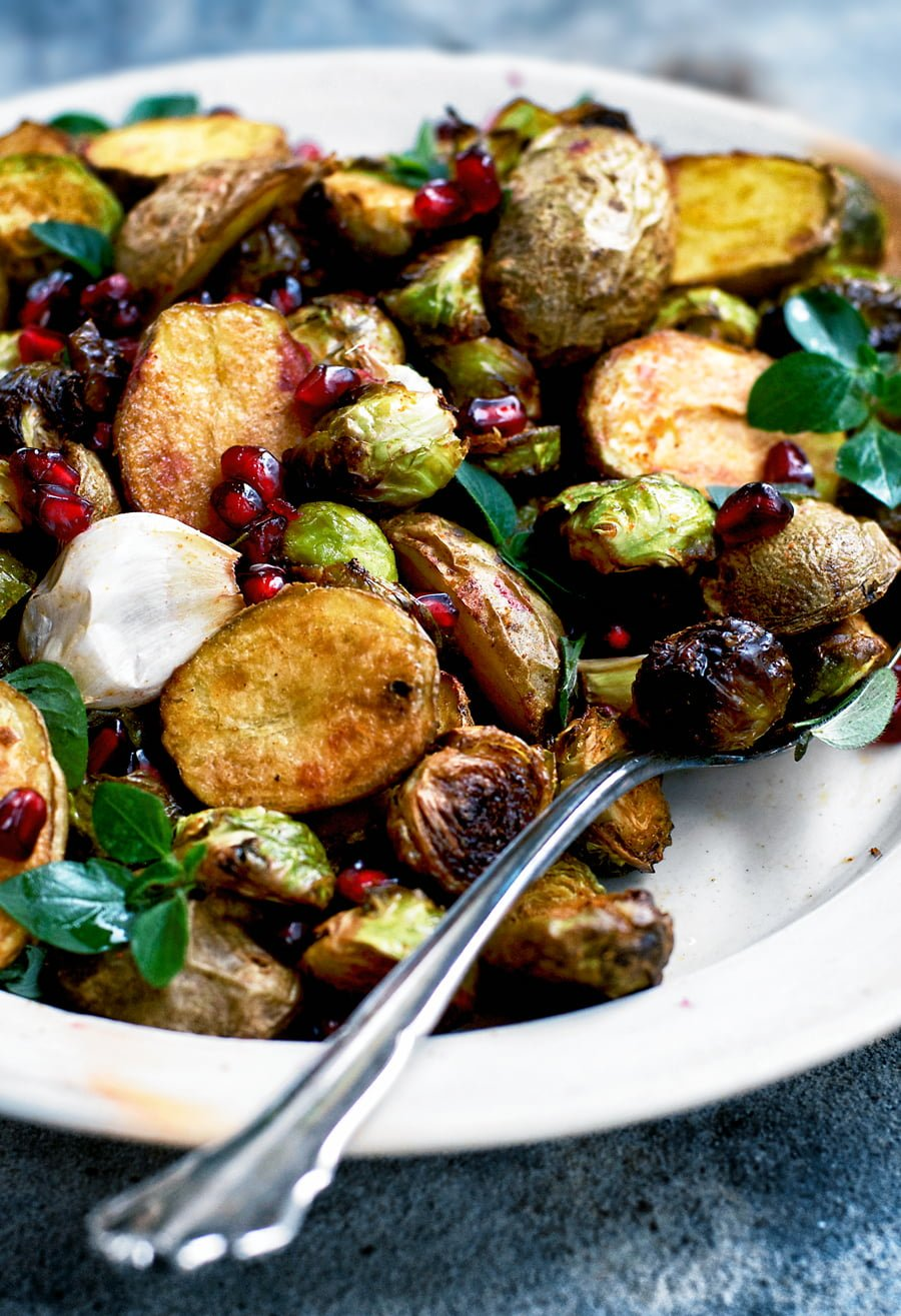 Spicy Roasted New Potatoes and Brussels Sprouts   occasionallyeggs.com